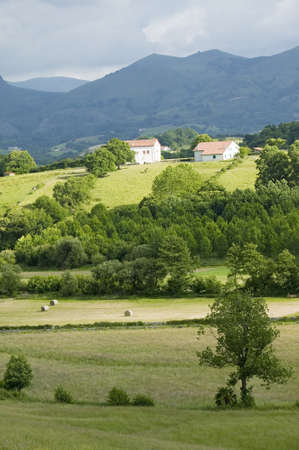 Sare, France in Basque Country on Spanish-French border, is a hilltop 17th century village surrounded by farm fields and mount Rhune in the Labourd province. Close to St. Jean de Luz, on the Cote Basque, France.
