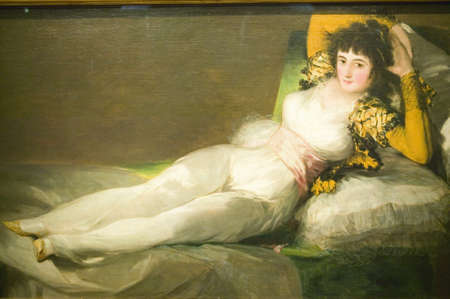 The Clothed Maja, Duchess of Alba, by Francisco de Goya as shown in the Museum de Prado, Prado Museum, Madrid, Spain