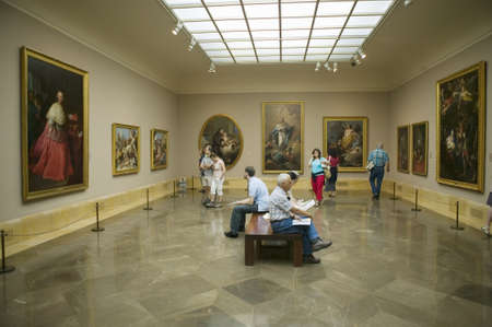 Art appreciators view paintings in Museum de Prado, Prado Museum, Madrid, Spain Editorial