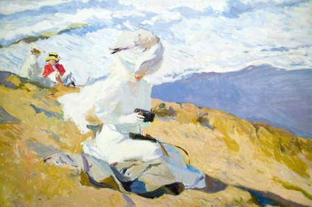 Seaside painting by Joaqu'n Sorolla y Bastida (1863-1923) as seen in The Sorolla Museum, Madrid, Spain Editorial