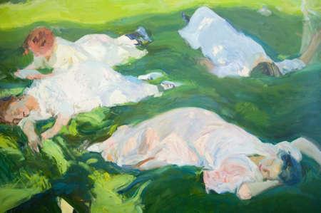 sorolla: Painting of napping women by Joaqu'n Sorolla y Bastida (1863-1923) as seen in The Sorolla Museum, Madrid, Spain