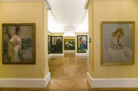 sorolla: Hallway of paintings by Joaqu'n Sorolla y Bastida (1863-1923) as seen in The Sorolla Museum, Madrid, Spain