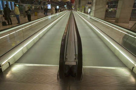 barajas: Moving sidewalk at Madrid Barajas Airport (MAD), Spains busiest airport Editorial