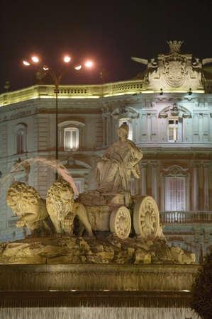 fertility goddess: Plaza de Cibeles with Fuente de Cibele at dusk, Madrid, Spain