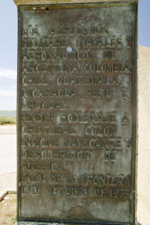 A Monument marking the precise spot where Christopher Columbus fleet of three ships departed the harbour of Palos de la Frontera on 3 August 1492, with the Rio Tinto River and the opposite bank of the city of Huelva in the background, Southern Spain