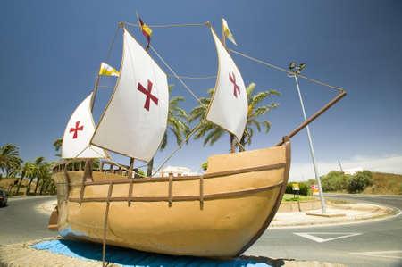 christopher columbus: The model of the Santa Maria sailing ship, used by Christopher Columbus in 1492, Palos de la Frontera (Espa�a), Spain