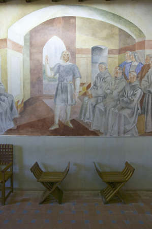 Murals of Christopher Columbus' story were painted by Vazquez Diaz and displayed at the 15th-century Franciscan Monasterio de Santa Mar'a de la R‡bida, Palos de la Frontera, a Heritage of Mankind Site in the Huelva Provence of Andalucia and Southern Spain