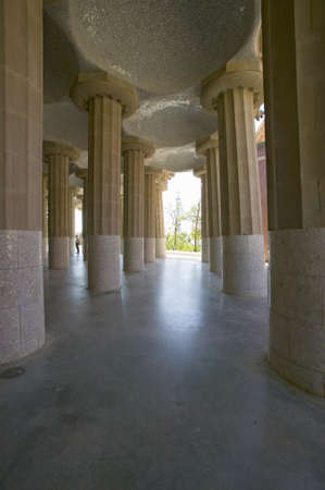 Columns supporting tiled ceiling of Antoni Gaudis Parc Guell, Barcelona, Spain