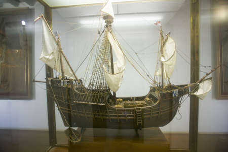 columb: A replica of the Santa Maria sailing ship at 15th-century Franciscan Monasterio de Santa Mar�a de la R�bida, Palos de la Frontera, a Heritage of Mankind Site in the Huelva Provence of Andalucia and Southern Spain, the seaside spot where Christopher Columb