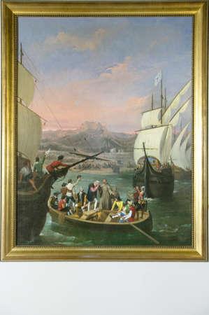 "Painting ""The Departure from La Rabida"" by Cabral Bejarano, depicts the departure of Christopher Columbus to the New World, as seen at the 15th-century Franciscan Monasterio de Santa Mar'a de la R‡bida, Palos de la Frontera, the Huelva Provence of Andaluc"