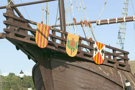 Full size replicas of Christopher Columbus ships, the Santa Maria, the Pinta or the Ni–a at Muelle de las Carabelas, Palos de la Frontera - La R‡bida, the Huelva Provence of Andalucia and Southern Spain, the site where Columbus departed from the Old Worl