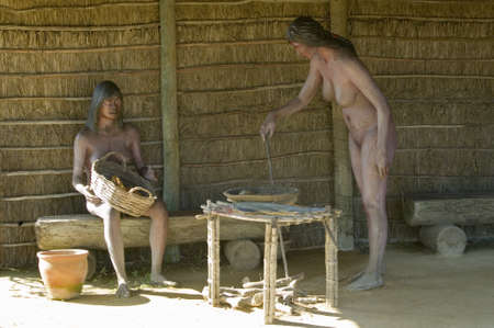 encountered: Models of Native Americans encountered by Christopher Columbus on display at Muelle de las Carabelas, Palos de la Frontera - La R�bida, the Huelva Provence of Andalucia and Southern Spain, the site where Columbus departed from the Old World to the New Wor
