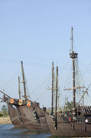 Full size replicas of Christopher Columbus ships, the Santa Maria, the Pinta or the Ni�a at Muelle de las Carabelas, Palos de la Frontera - La R�bida, the Huelva Provence of Andalucia and Southern Spain, the site where Columbus departed from the Old Worl