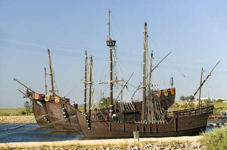 pinta: Full size replicas of Christopher Columbus ships, the Santa Maria, the Pinta or the Ni�a at Muelle de las Carabelas, Palos de la Frontera - La R�bida, the Huelva Provence of Andalucia and Southern Spain, the site where Columbus departed from the Old Worl