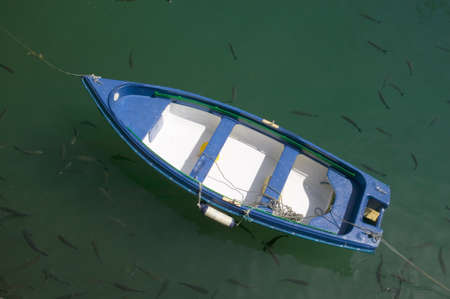 cantabrian: A fishing row boat is surrounded by fish in Donostia-San Sebastian, Basque region of Spain, the Queen of Euskadis and Cantabrian Coast Editorial