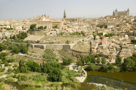castilla: View overlooking the Tagus River and Toledo, Spain