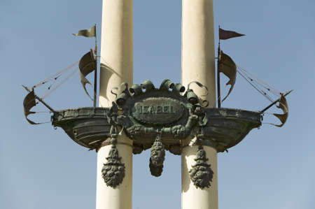 queen isabella: Columbus monument - Monumento a Col�n, shows a detail of Columbus ship the Santa Maria with the name Isabel for the Queen Isabella, Sevilla, Spain, was commissioned in 1911 by King Alfonso XIII