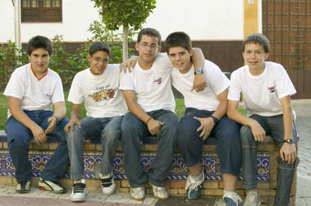 spaniards: Group of smiling boys in village of Southern Spain off highway A49 west of Sevilla