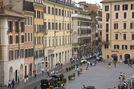 spanish steps: View from window of Keats-Shelley House, a museum dedicated to the Romantic poets that has been set up in the house where John Keats spent the last months of his life, Rome, Europe, overlooking the Spanish Steps