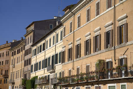 Building front showing many windows of Rome, Italy, Europe