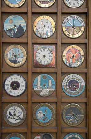 cultural artifacts: Old clocks in window of store in Rome, Italy, Europe