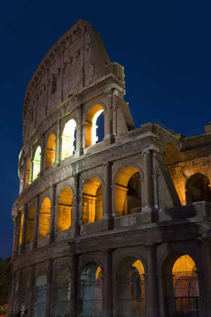 openair: The Colosseum or Roman Coliseum at dusk, originally the Flavian Amphitheatre, an elliptical amphitheatre in the centre of the city of Rome, the largest ever built in the Roman Empire, Rome, Italy, Europe