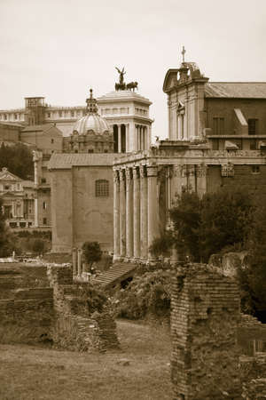 Sepia image of Roman Forum with Temple of Antoninus and Faustina in background, Rome, Italy, Europe