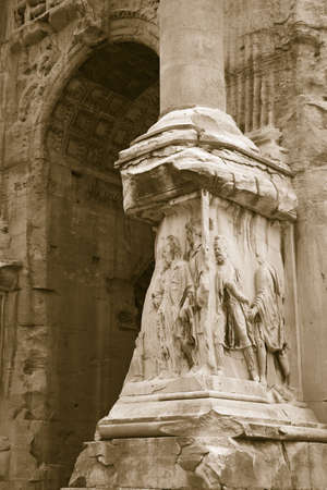 severus: Detail shot of Triumphal Arches, Arch of Septimius Severus, Roman Forum, Rome, Italy, Europe