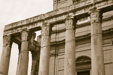 Sepia image of Temple of Antoninus and Faustina built in 141 AD, at the Roman Forum, Rome, Italy, Europe