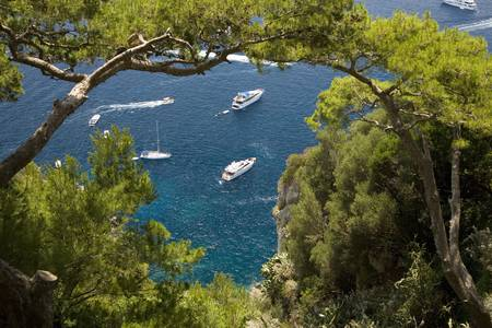 tyrrhenian: City of Capri, an Italian island off the Sorrentine Peninsula on the south side of Gulf of Naples, in the region of Campania, Province of Naples, Italy, Europe