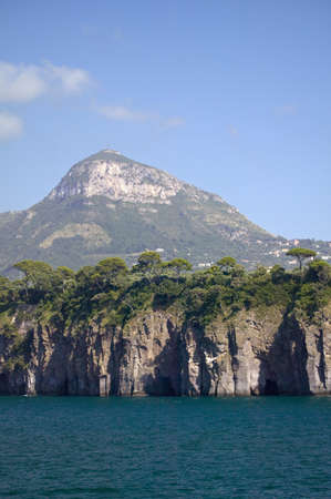 tyrrhenian: View from water of City of Capri, an Italian island off the Sorrentine Peninsula on the south side of Gulf of Naples, in the region of Campania, Province of Naples, Italy, Europe