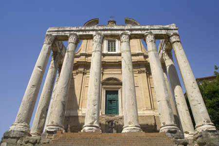 Temple of Antoninus and Faustina built in 141 AD, at the Roman Forum, Rome, Italy, Europe
