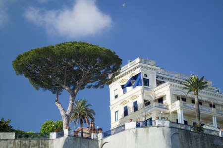 Building overlooking City of Capri, an Italian island off the Sorrentine Peninsula on the south side of Gulf of Naples, in the region of Campania, Province of Naples, Italy, Europe