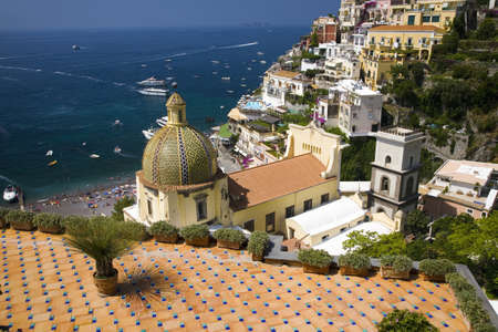 Sea view of Amalfi, a town in the province of Salerno, in the region of Campania, Italy, on the Gulf of Salerno, 24 miles southeast of Naples Editorial