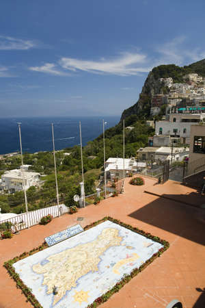 tyrrhenian: Outdoor map of City of Capri, an Italian island off the Sorrentine Peninsula on the south side of Gulf of Naples, in the region of Campania, Province of Naples, Italy, Europe