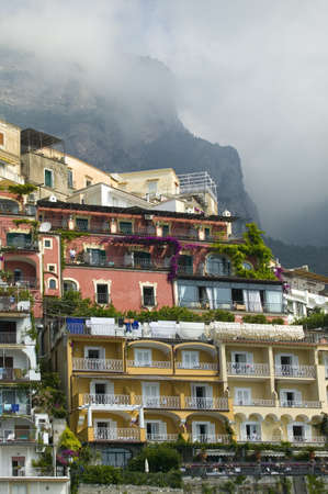 Colorful buildings of Amalfi, a town in the province of Salerno, in the region of Campania, Italy, on the Gulf of Salerno, 24 miles southeast of Naples Editorial