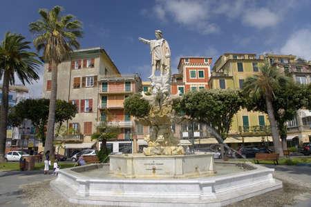 italian fountain: Statue of Christopher Columbus in town center and fountain in Santa Margarita, the Italian Riviera, Italy, Europe