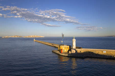 Light house of old port and third largest city in France, Marseille, Provence, France on the Mediterranean Sea
