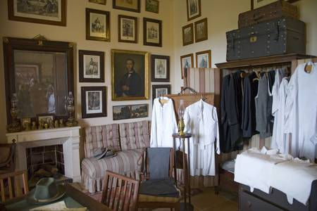 Interior view of vintage clothing at Camino d els Calderers d San Juan, Majorca, the largest island of Spain, Europe on the Mediterranean Sea and part of Balearic Islands archipelago