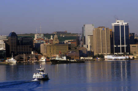 City skyline view and ferry boat in Halifax, Nova Scotia, Canada