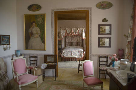 Interior view of bedroom at Camino d els Calderers d San Juan, Majorca, the largest island of Spain, Europe on the Mediterranean Sea and part of Balearic Islands archipelago