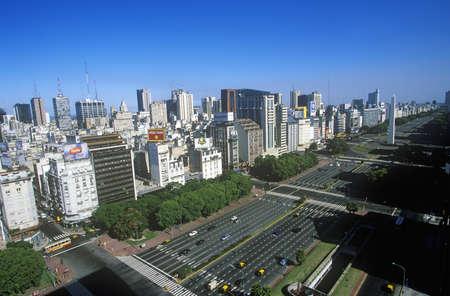 Avenida 9 de Julio, widest avenue in the world, and El Obelisco, The Obelisk, Buenos Aires, Argentina Editorial