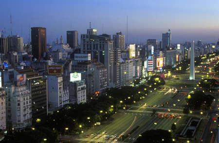 Avenida 9 de Julio, widest avenue in the world, and El Obelisco, The Obelisk at dusk, Buenos Aires, Argentina Editorial