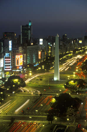 obelisco: Avenida 9 de Julio, widest avenue in the world, and El Obelisco, The Obelisk at night, Buenos Aires, Argentina