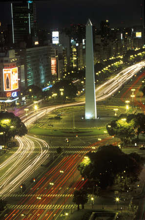 the obelisk: Avenida 9 de Julio, widest avenue in the world, and El Obelisco, The Obelisk at night, Buenos Aires, Argentina