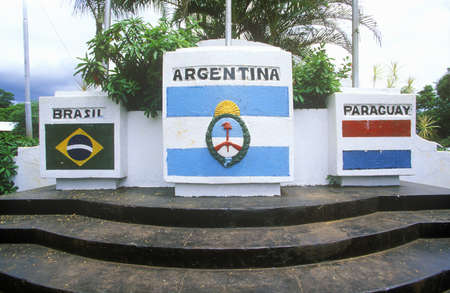 frontiers: Confluence of Iguazu and Parava Rivers at borders of Chile, Brazil and Argentina