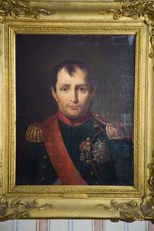paintings: Painting of Napoleon at Napoleon Bonapartes birthplace, on the Mediterranean Sea, Corsica, France, Europe