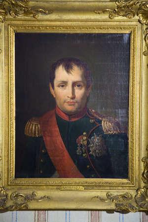 Painting of Napoleon at Napoleon Bonaparte's birthplace, on the Mediterranean Sea, Corsica, France, Europe