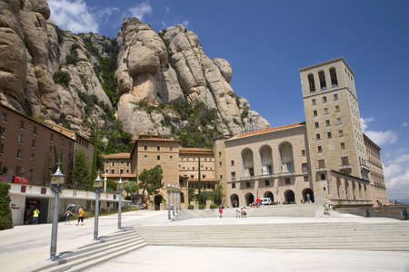 The jagged mountains in Catalonia, Spain, showing the Benedictine Abbey at Montserrat, Santa Maria de Montserrat, near Barcelona, where some feel the Holy Grail had been