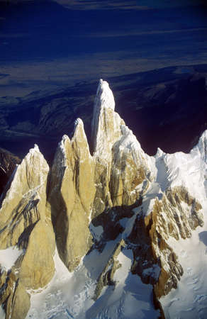 fitzroy: Aerial view at 3400 meters of Mount Fitzroy, Cerro Torre Range and Andes Mountains, Patagonia, Argentina Editorial